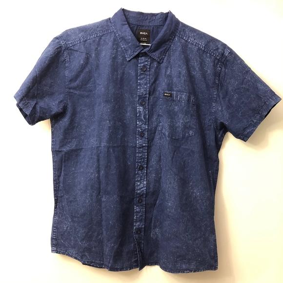 RVCA Mens Deep Plaid Short Sleeve Woven Button Down Shirt